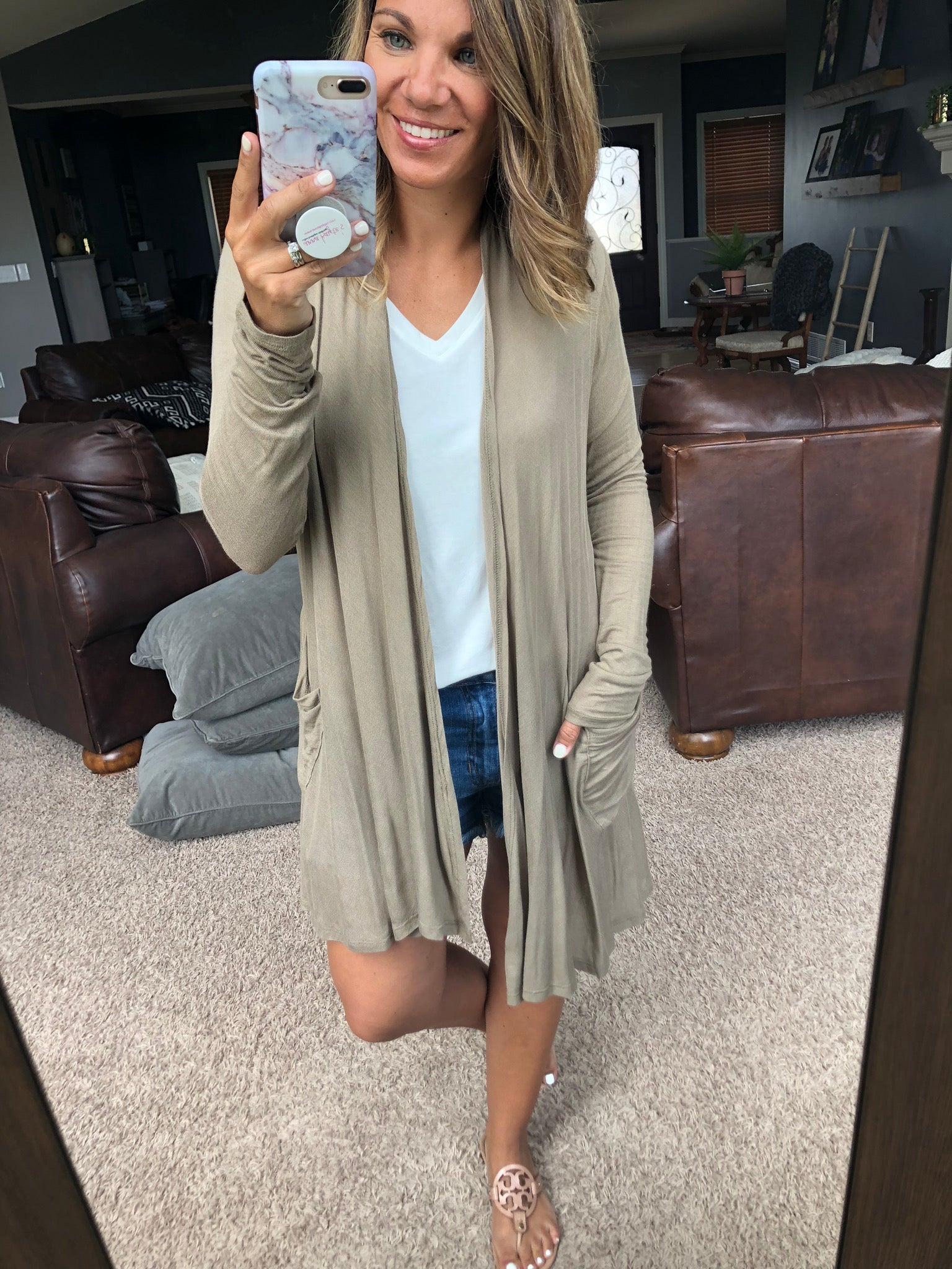 In The Office Lightweight Grey Cardigan- Soft Olive