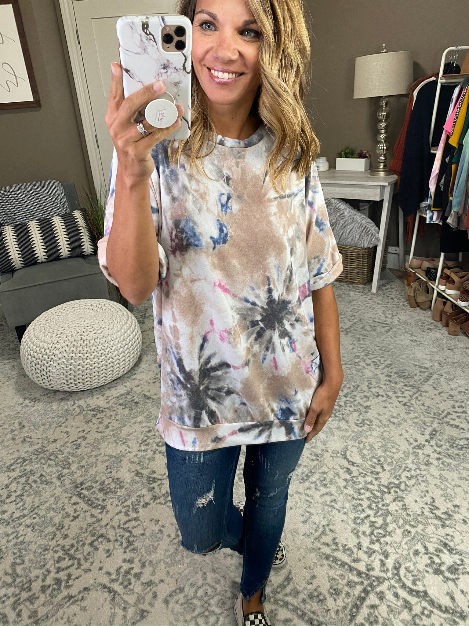 Miss Independent Tie Dye Tee with Rolled Sleeves- Taupe, Charcoal, Blue