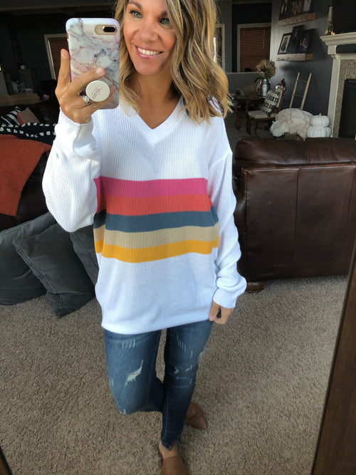 Forever Your Girl White V-Neck Sweater with Multi Stripe Detail