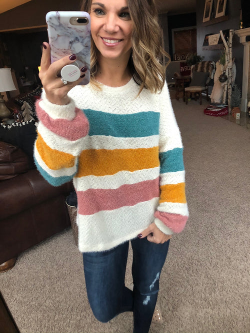 Draw The Line Ivory, Blue, Yellow and Pink Striped Mohair Sweater