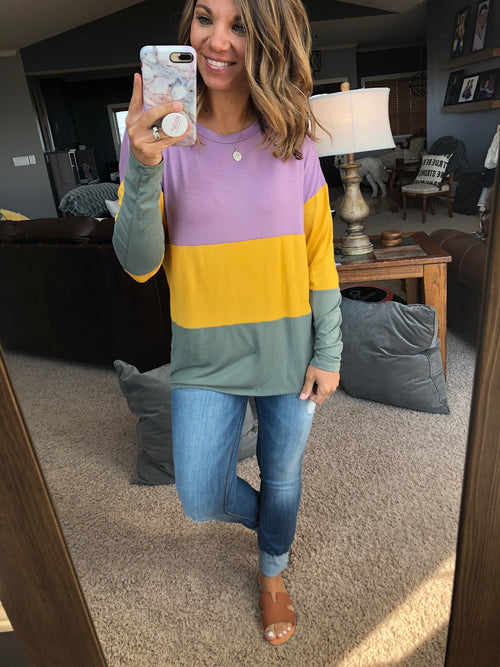 Spring Temptations Color Block Long Sleeve