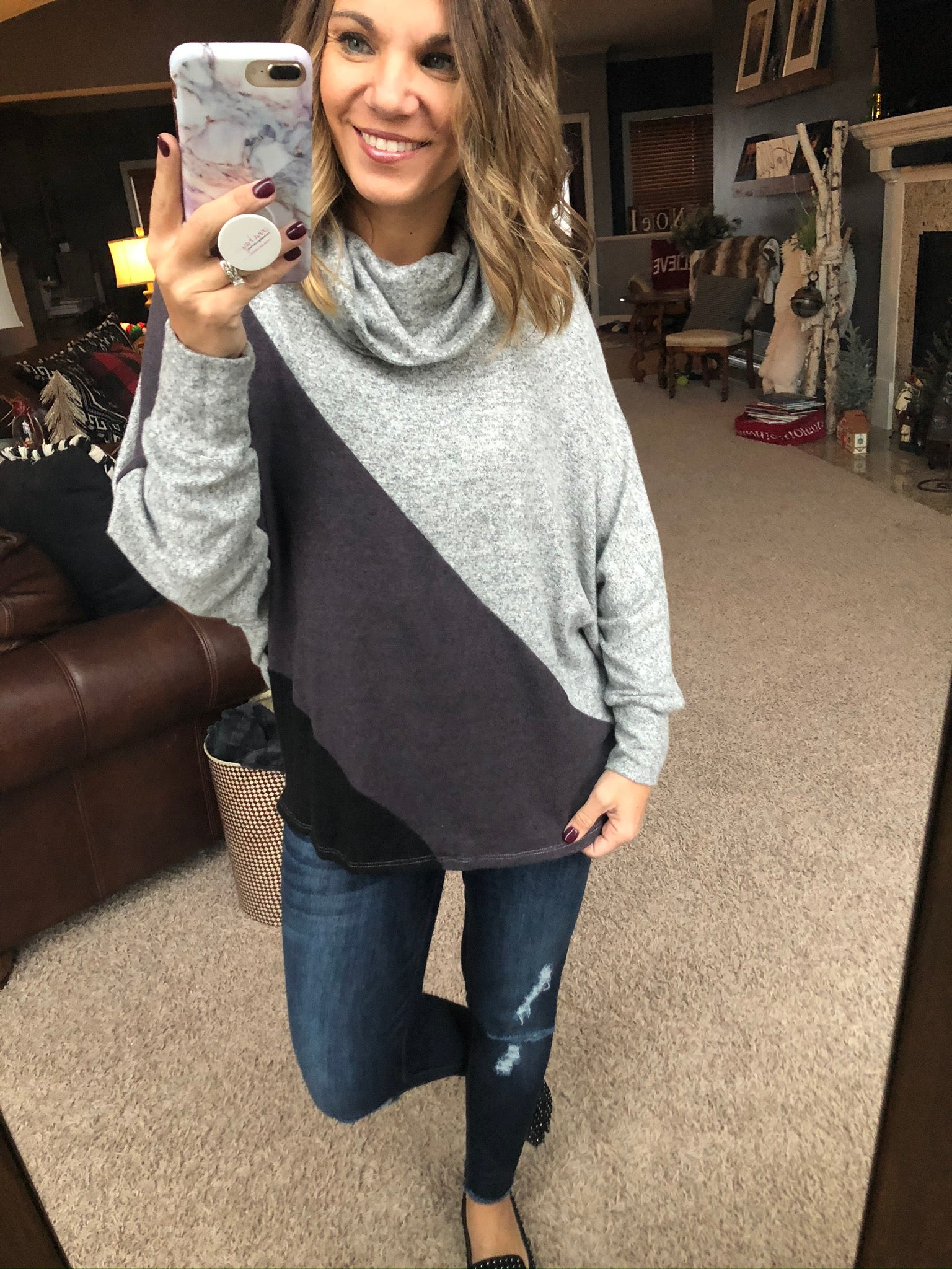 Keep Them Captivated Cowl Neck Color Block Long Sleeve
