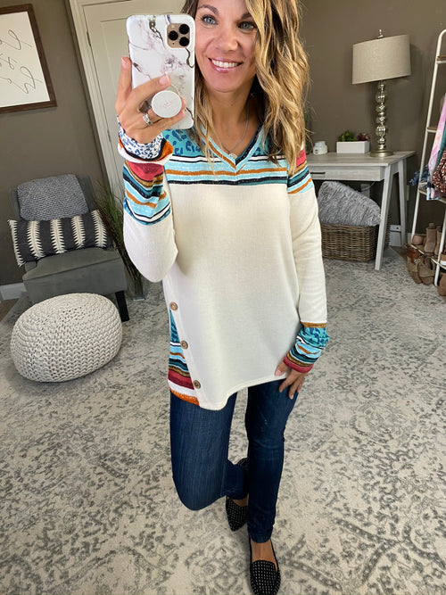 Hard To Forget Mixed Pattern Brushed Fleece Long Sleeve- Jade & Cream
