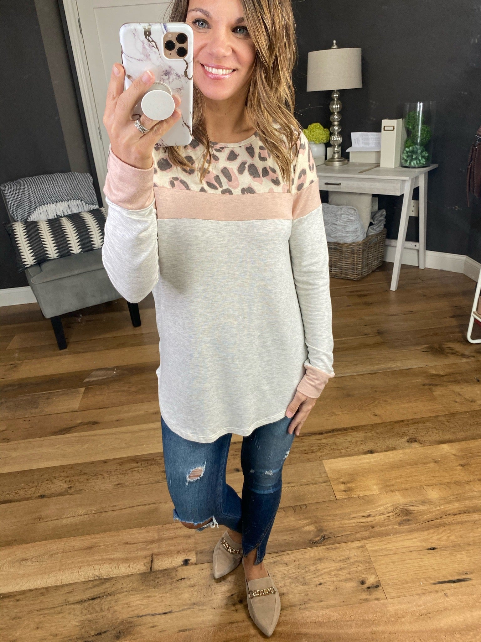 Find Our Way Heather Grey and Pink Leopard Colorblock Long Sleeve