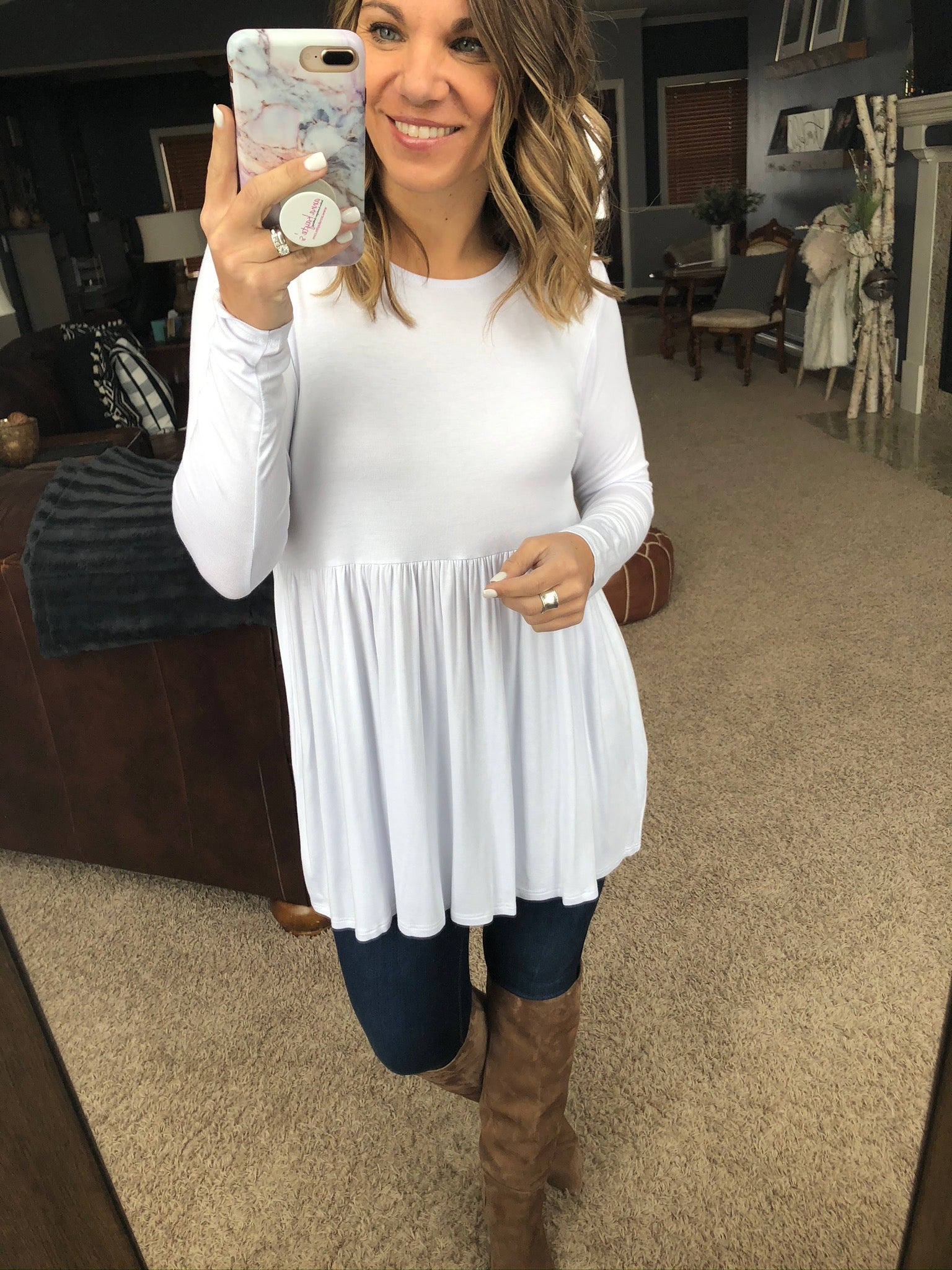Keep It To Myself White Babydoll Long Sleeve