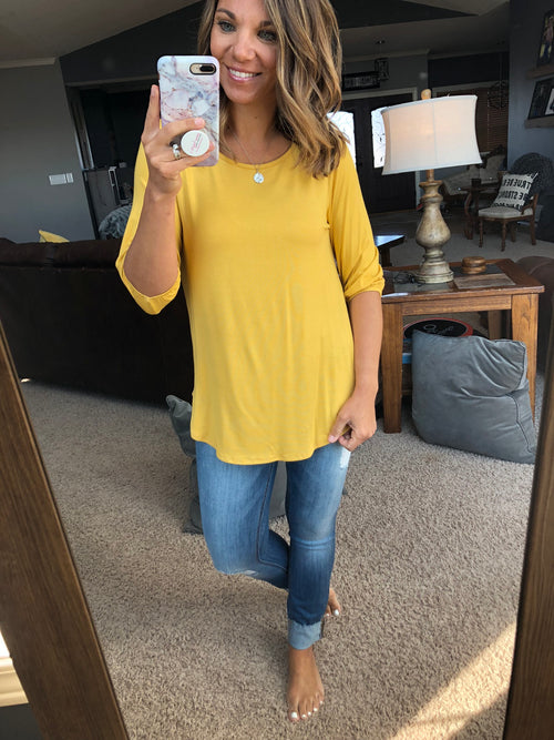 Leaving You Speechless Yellow Cinched 3/4 Sleeve Top
