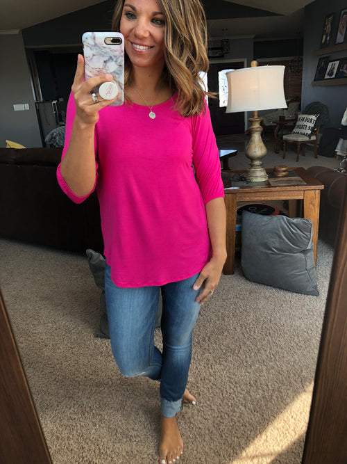 Leaving You Speechless Hot Pink Cinched 3/4 Sleeve Top