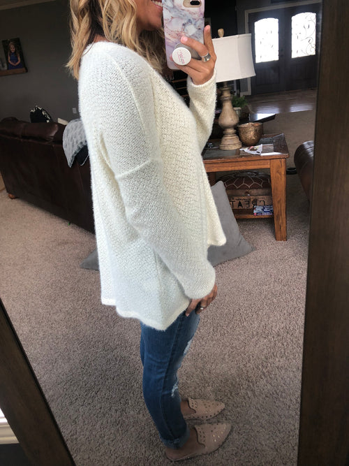 Let's Push Play Ivory V Neck Mohair Sweater