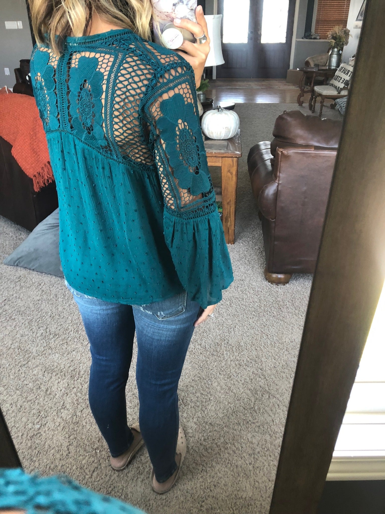 Never Comin' Back Teal Button Down 3/4 Sleeve with Tie Front and Crochet Detail