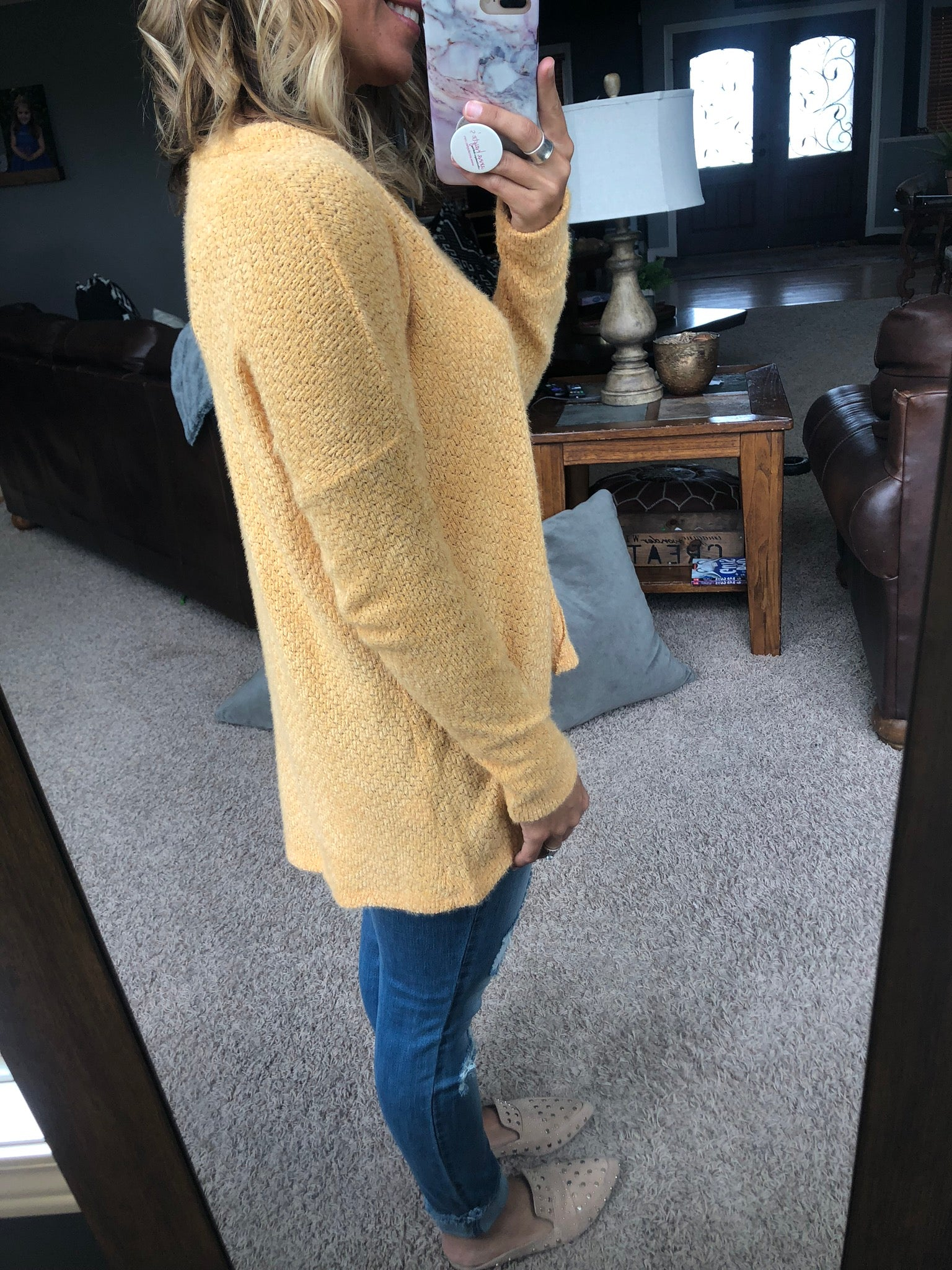 Let's Push Play Gold V Neck Mohair Sweater