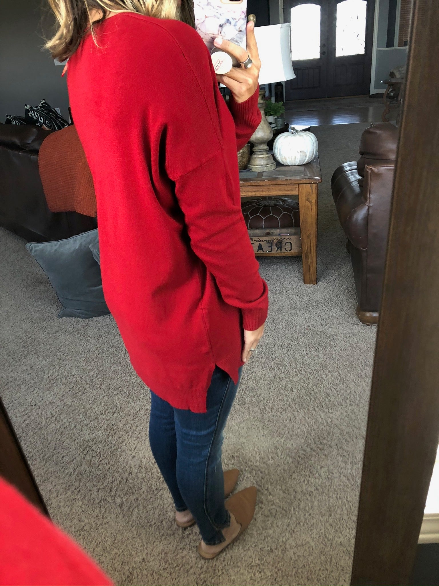 I Think I'm In Love Buttersoft V-Neck Exposed Seam Sweater- Cardinal Red