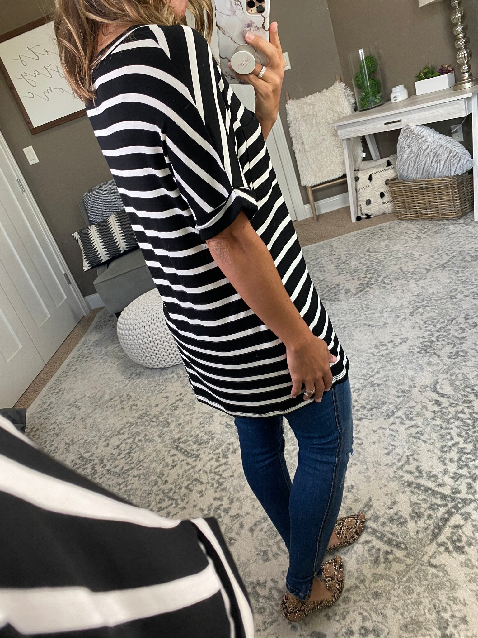 Back To Life Black & White Striped VNeck Tee With Pocket