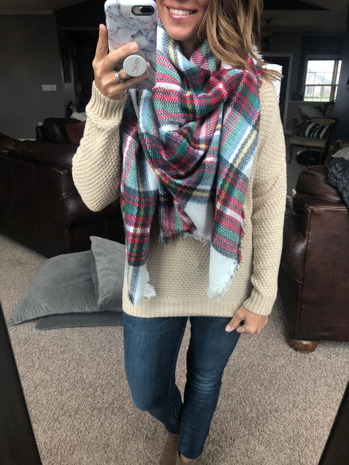 The Big Apple Blanket Scarf- Ivory, Green, Red, Blue