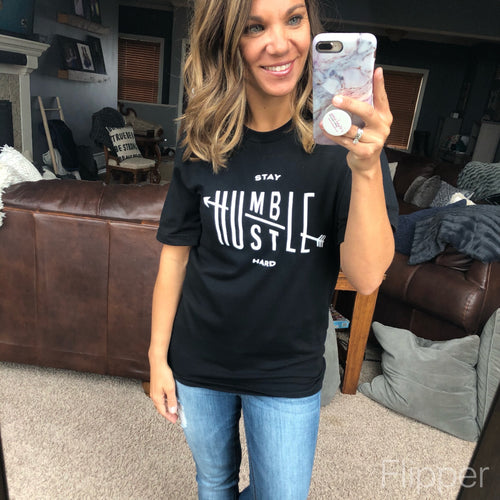Stay Humble Hustle Hard Black Graphic Tee