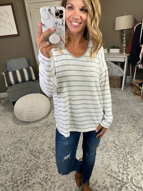 Rainy Day Striped Brushed Fleece Long Sleeve with Button Pleat Back Detail -Multiple Options