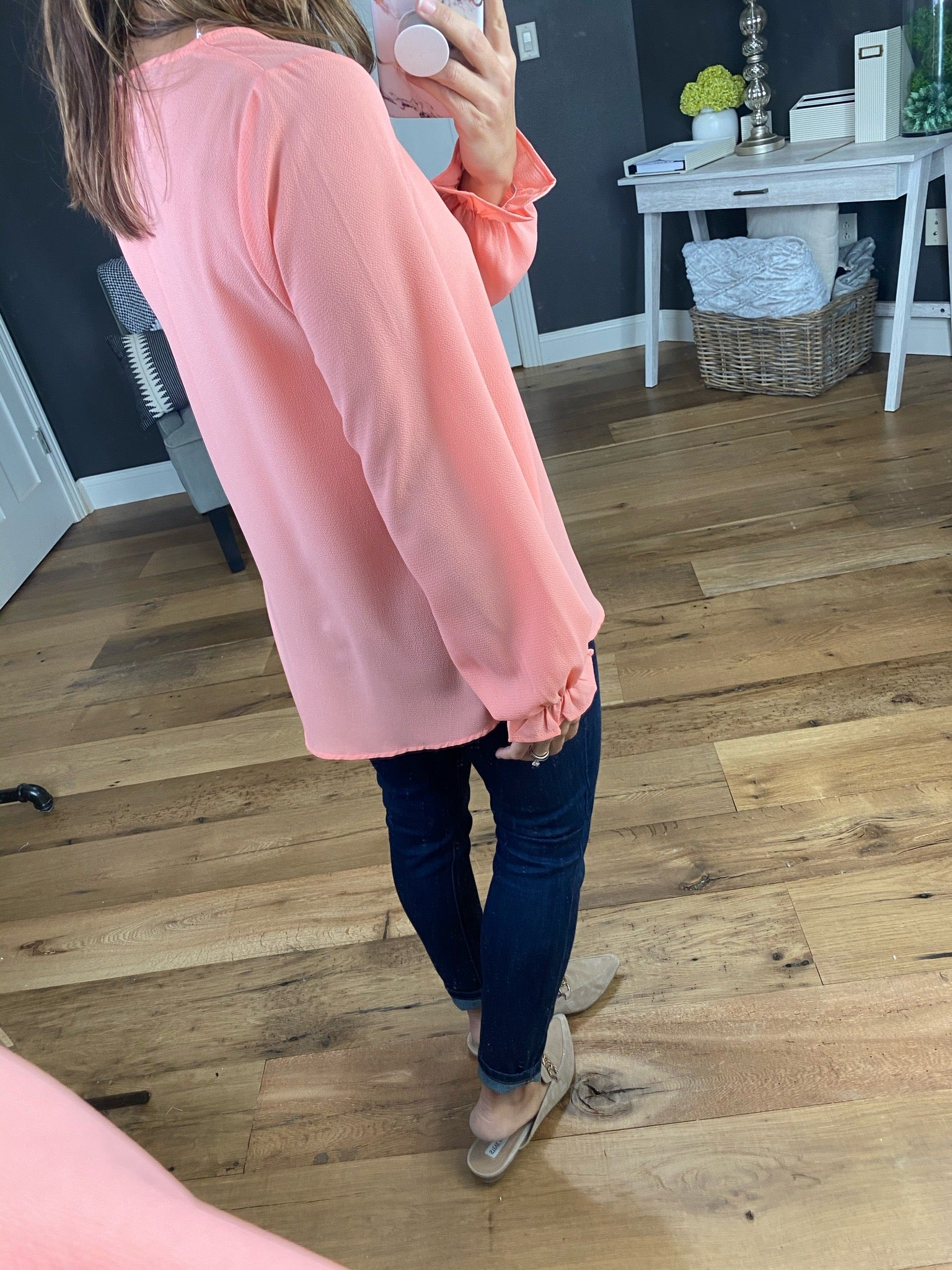 Together Forever V-Neck Blouse with Ruffle Cuff- Multiple Options