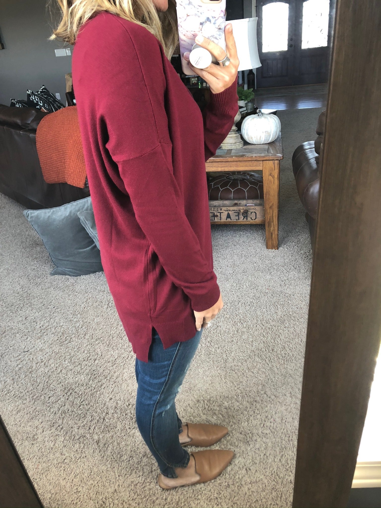 I Think I'm In Love Buttersoft V-Neck Exposed Seam Sweater- Burgundy