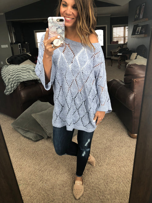 Diamond Status Oversized 3/4 Sleeve Sweater