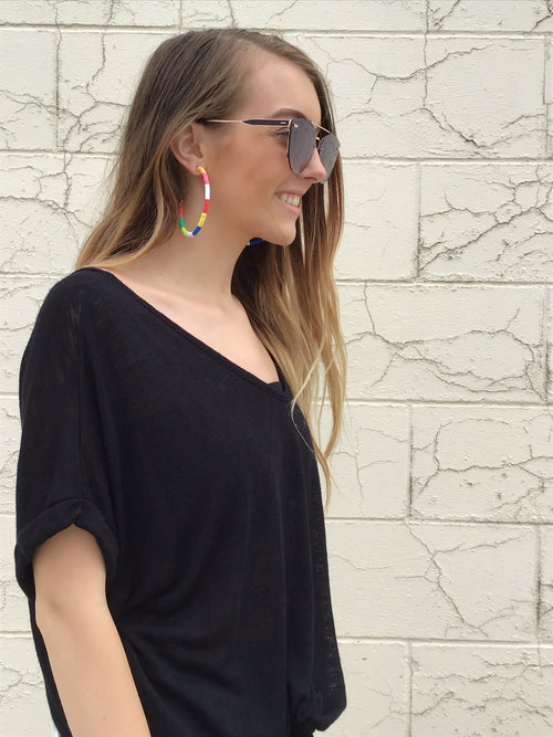 Festival Fun Multi Colored Open Hoop Earring