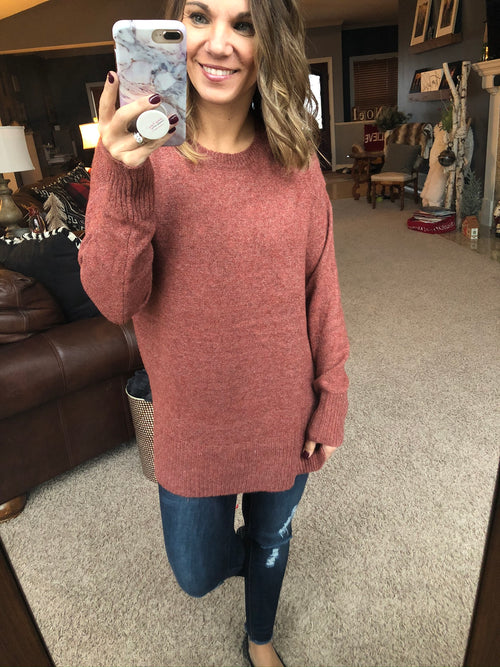 Sweet As Can Be Super Soft Sweater- Speckled Rust