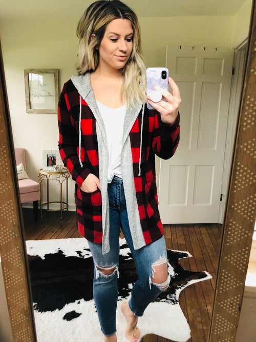 Lost In The Woods Red and Black Buffalo Plaid Hoodie Cardigan