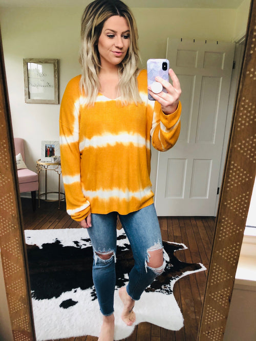 Take My Advice Dip Dye Ribbed Long Sleeve - Mustard/Ivory