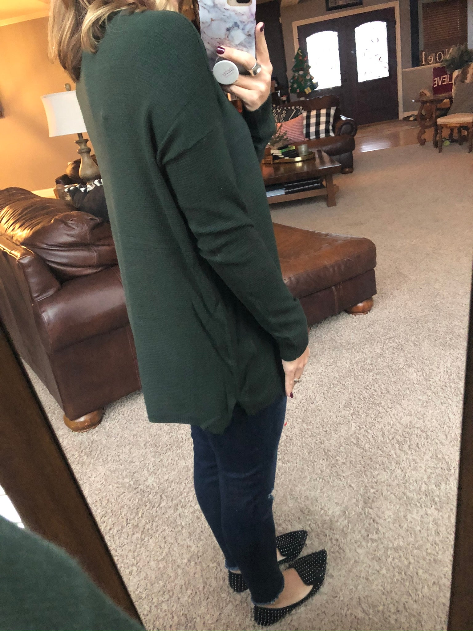 Turn On The Charm Knit Hunter Green Sweater
