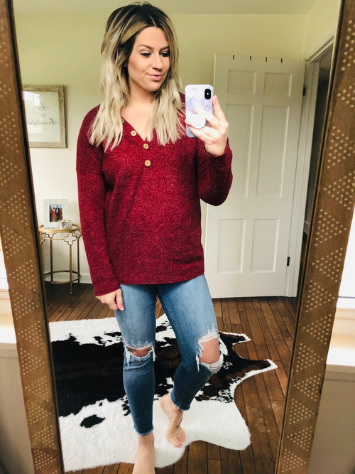 How Lucky Am I Solid Knit V-Neck Sweater With Button Detail- Burgundy