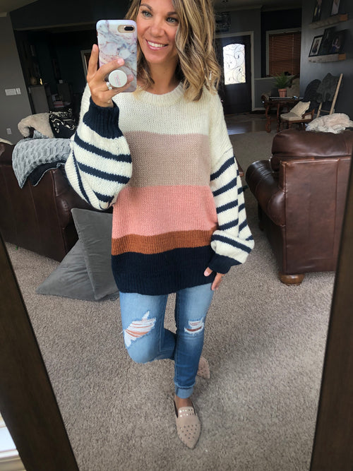 Together We Can Oversized Color Block Sweater