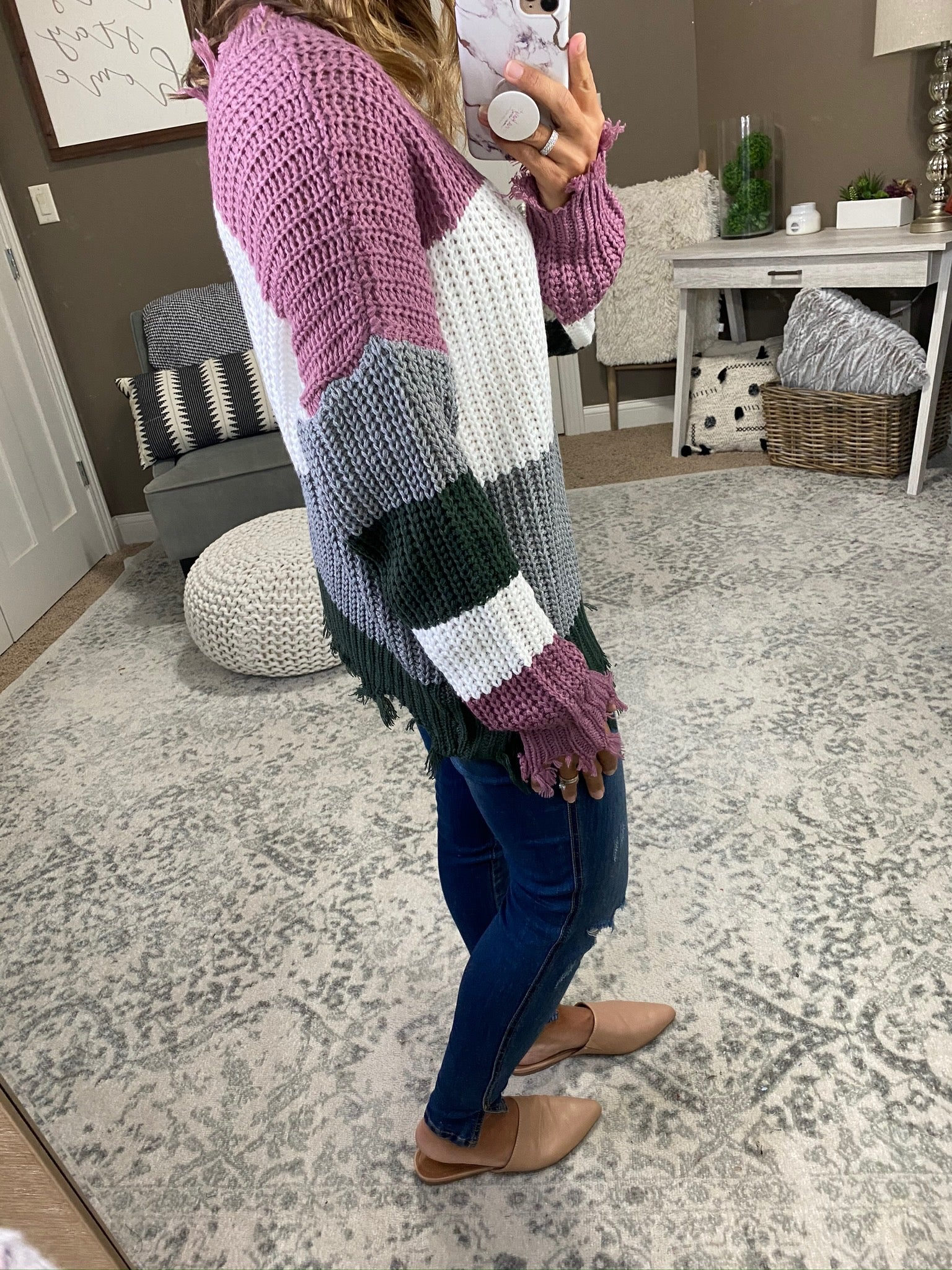 Neighborhood Rockstar Colorblock V-Neck Sweater with Distressed Hems- Multiple Options