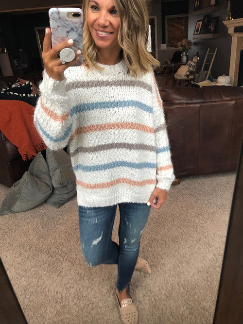 Ocean Eyes Neutral Tone Striped Chenille Sweater