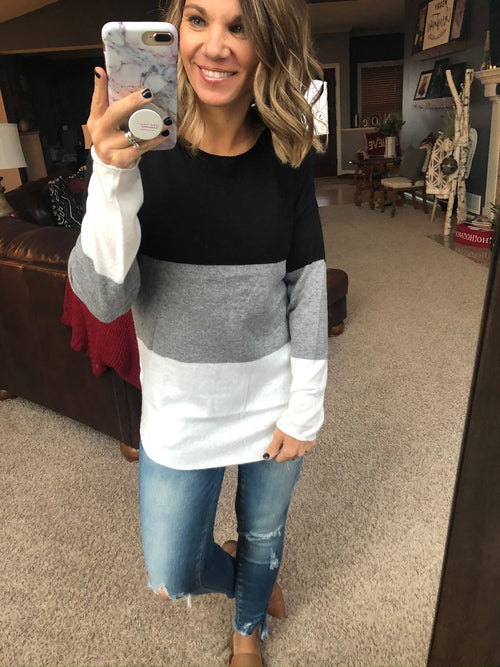 Love Runs Out Black, White and Ivory Colorblock Sweater with Raw Edges