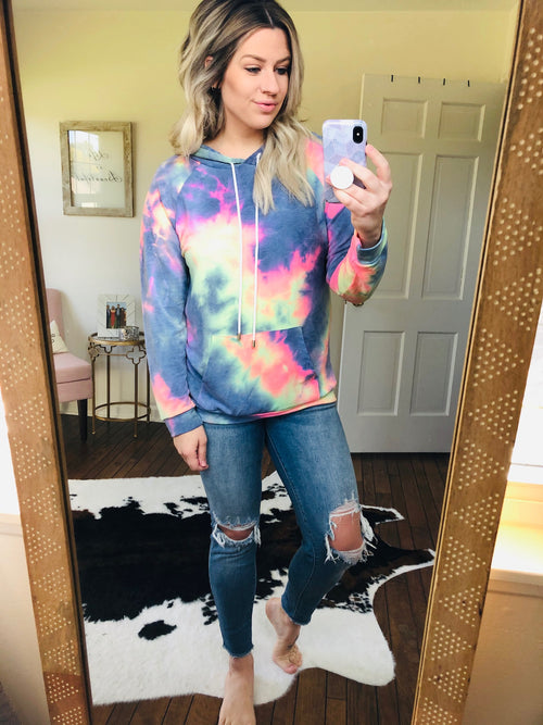 In The World I Grew Up In Tie Dye Hoodie - Dark Blue Mix