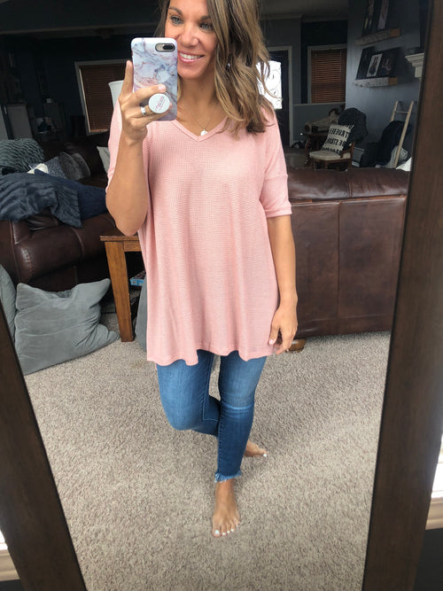 More Than A Crush Oversized Waffle Tee - Pink