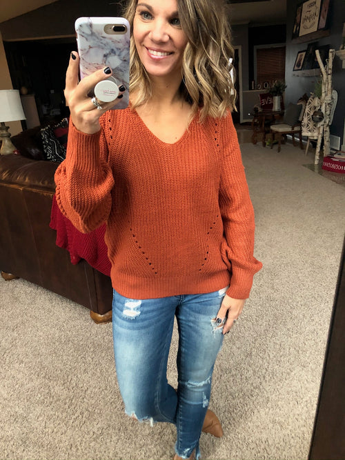 Rise To The Top V-Neck Knit Sweater-Rust