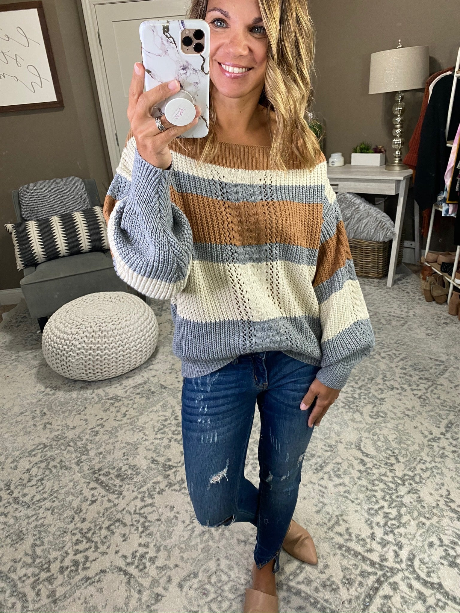 A Feeling Like This Copper, Grey and Cream Striped Off Shoulder Knit Sweater