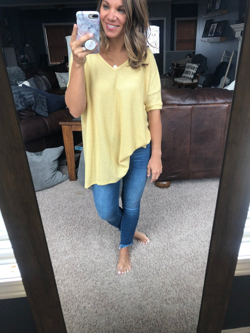 More Than A Crush Oversized Waffle Tee - Yellow