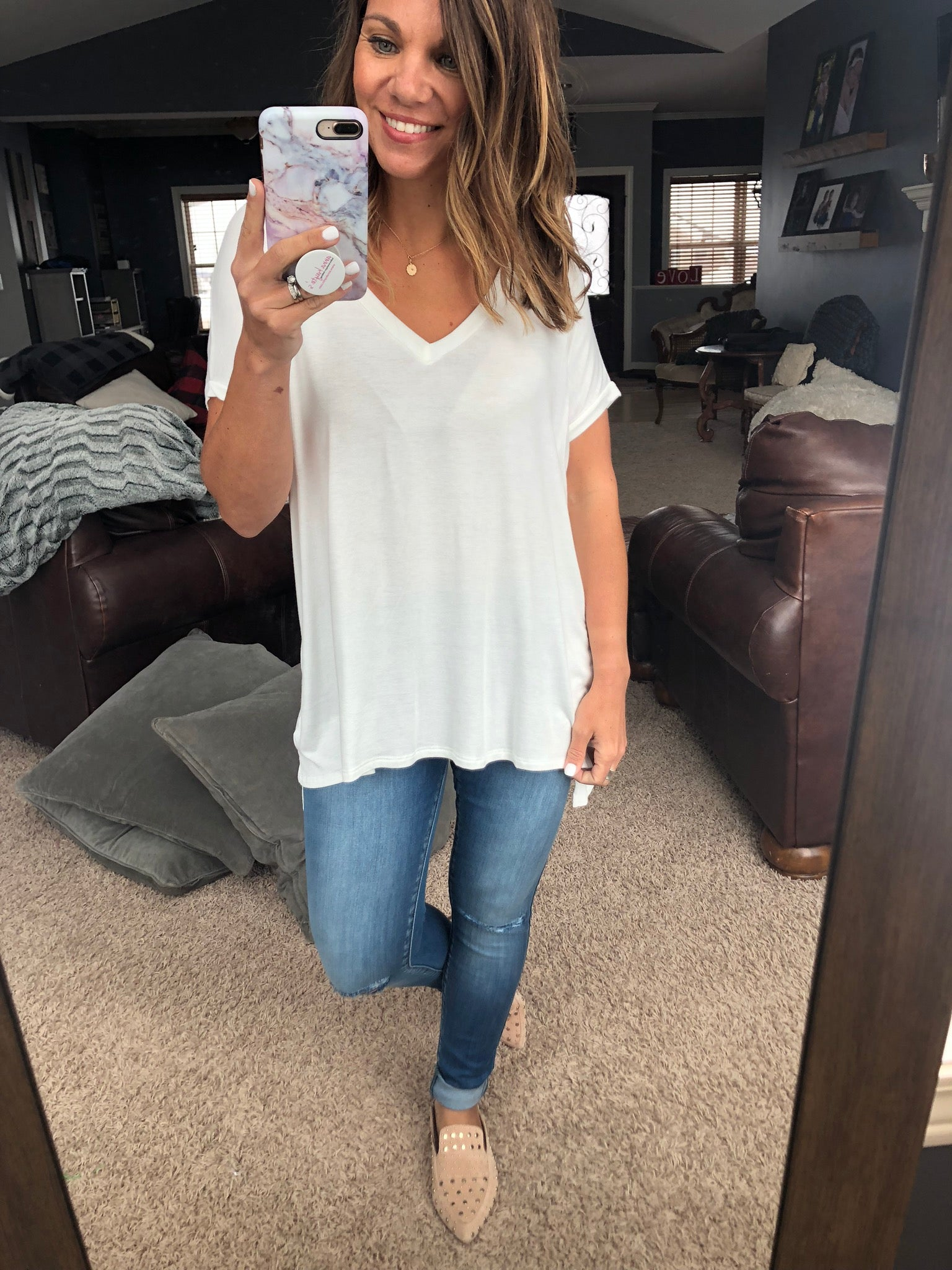 True To You Oversized V- Neck Tee - Ivory