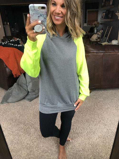Show Stopper Grey Hoodie with Neon Yellow Sleeves