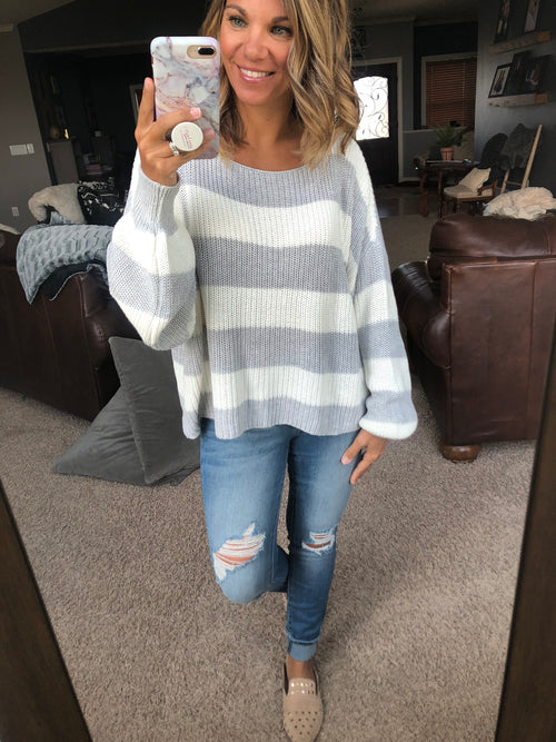 Secret Wishes Grey & White Striped Balloon Sleeve Sweater