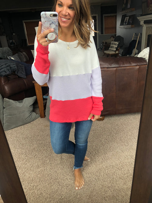 Going My Way Waffle Color Block Long Sleeve