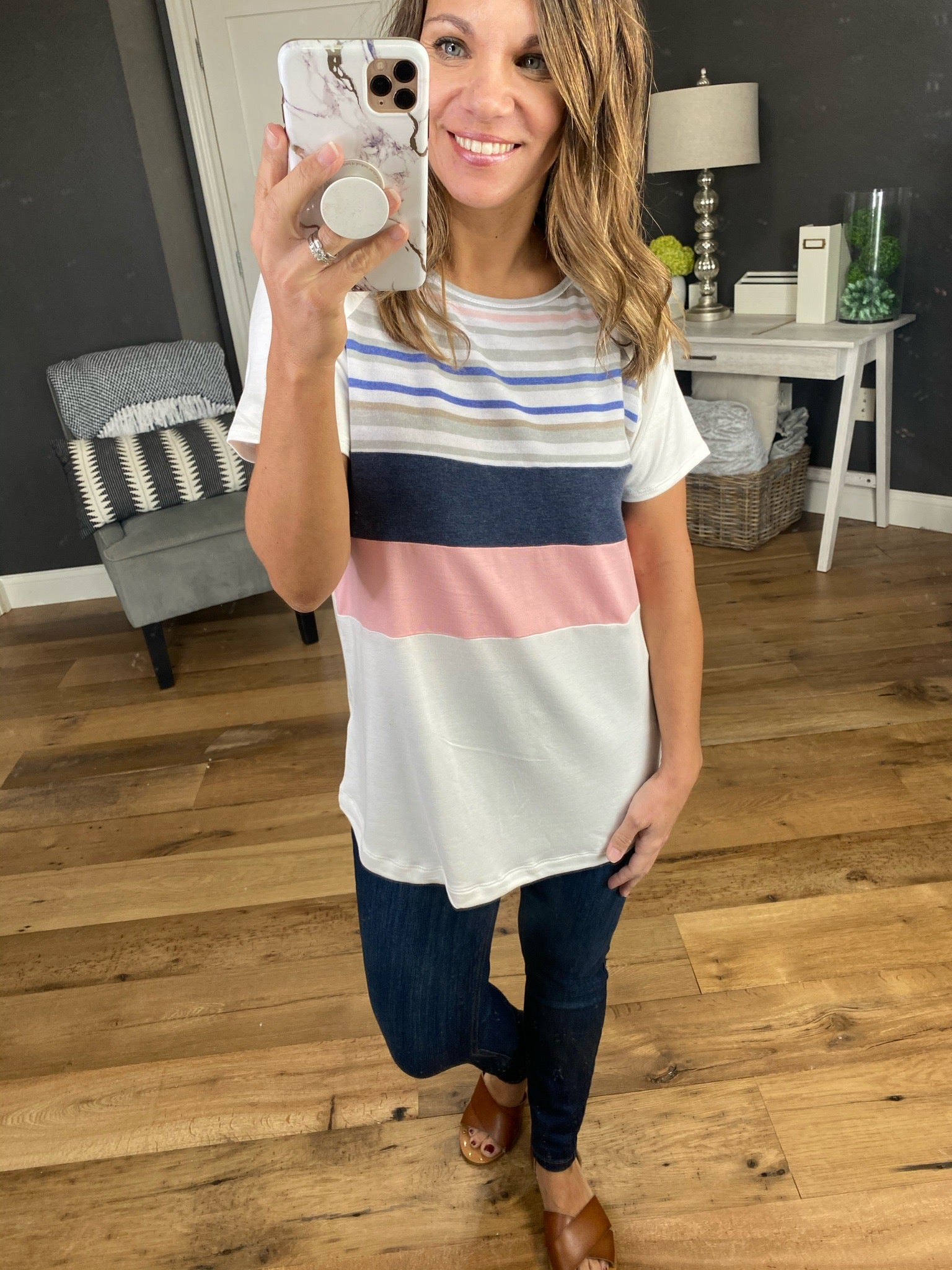 Breathe Easy Ivory Tee with Blue and Pink Stripes