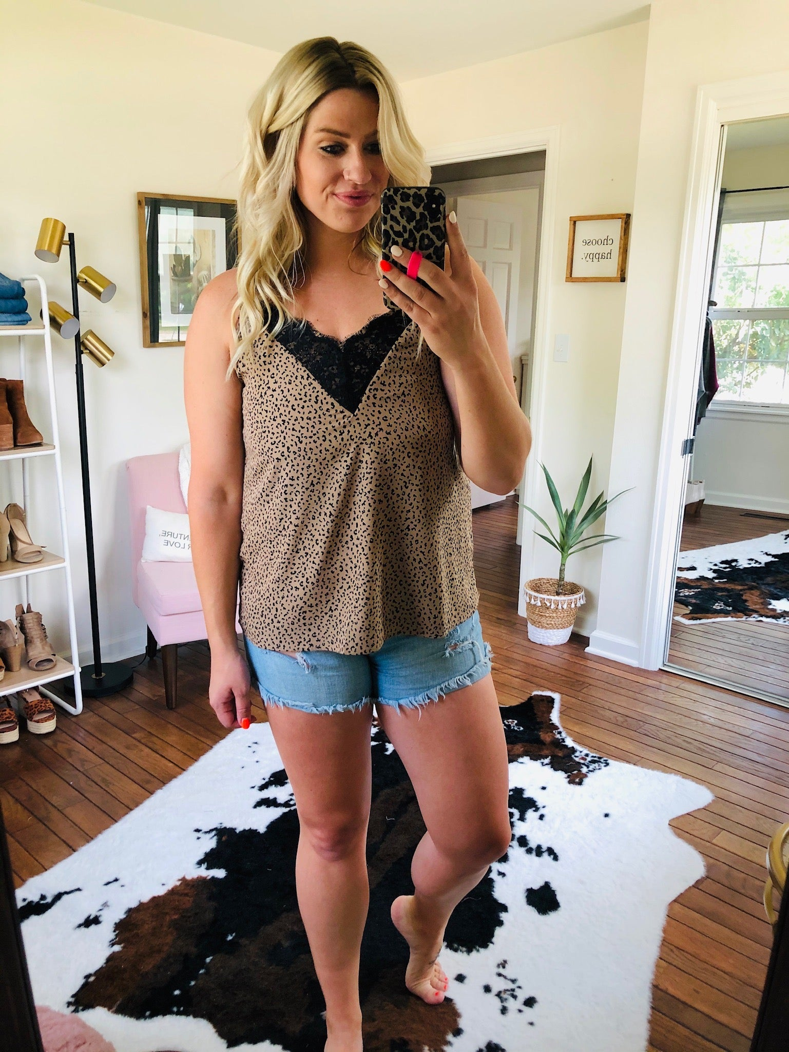 Fly Away Taupe and Black Cheetah Cami with Lace Neckline