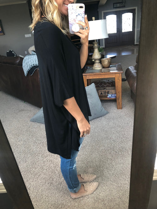 More For You V Neck Oversized Cape- Black