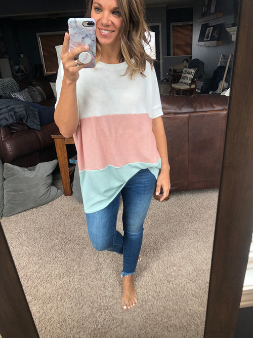 All My Favorites Color Block Oversized Waffle Tee