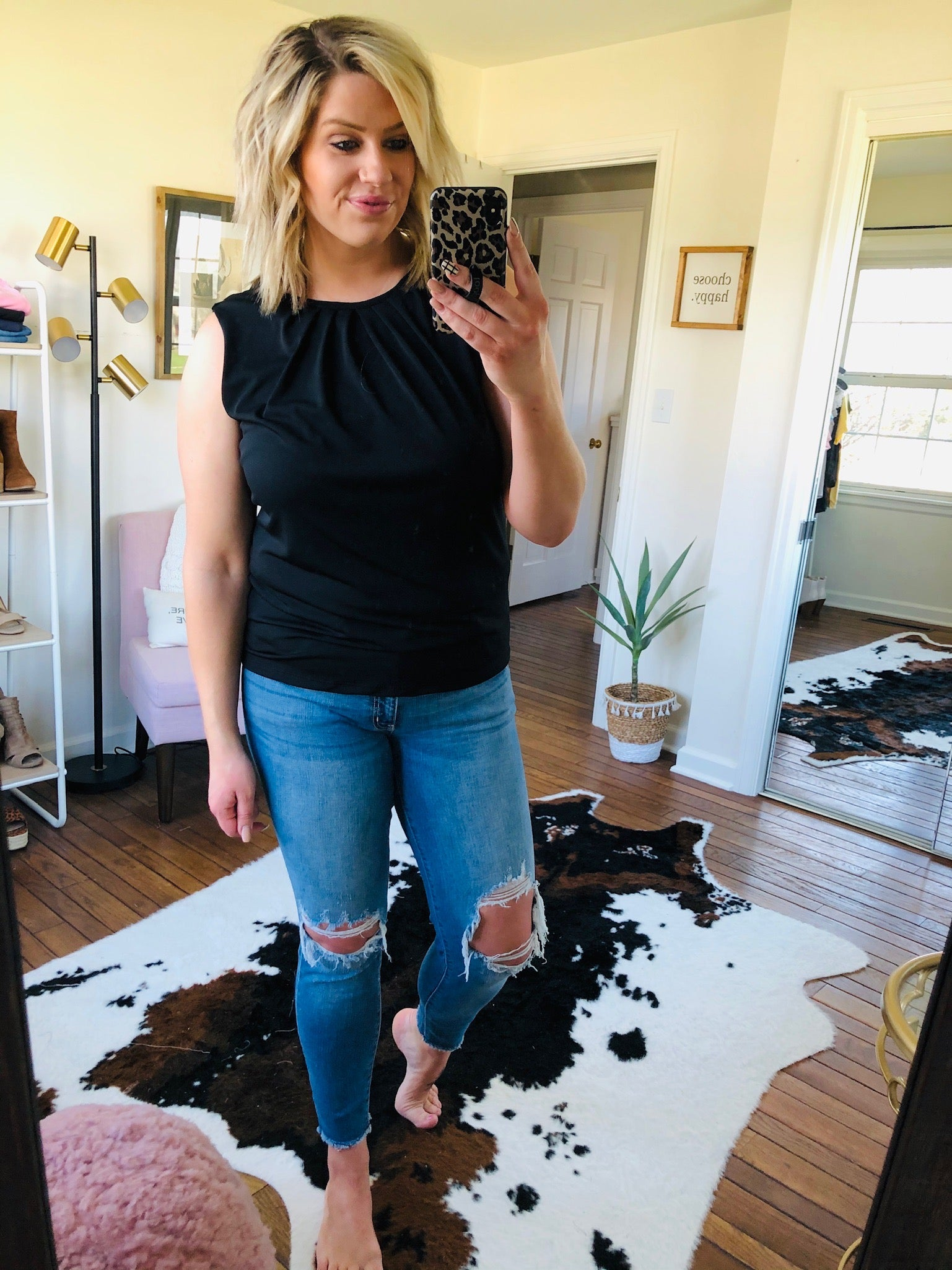 Might Be Right Black Tank With Neckline Pleating