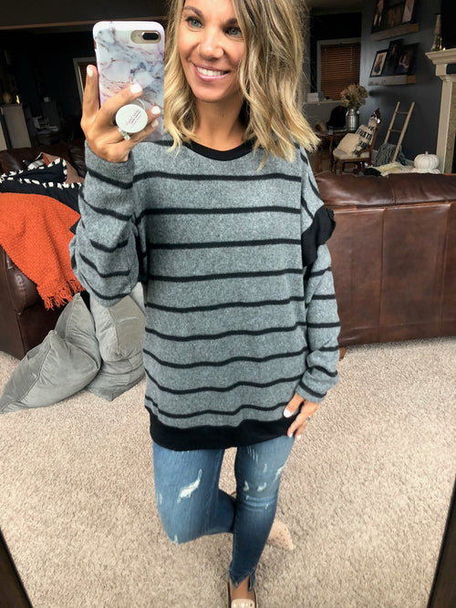 Saving For The Perfect One Charcoal & Black w/Ruffle Detail Fleece Long Sleeve