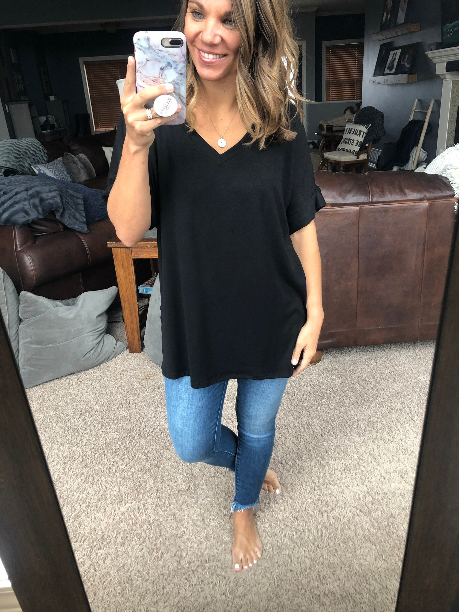 Pure Joy Oversized Basic Tee w/ cuffed sleeves - Black