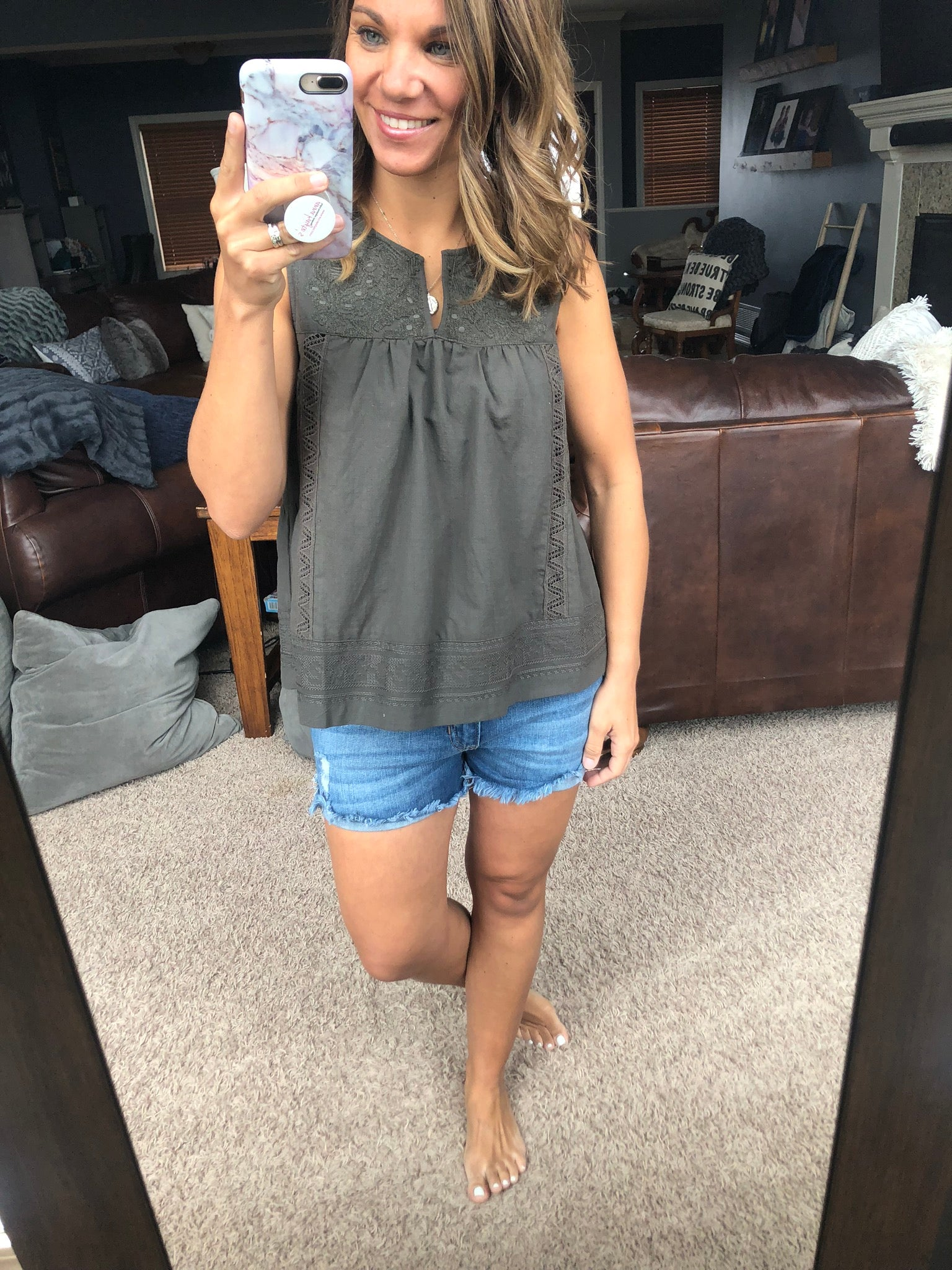 Bound To Be Together Olive Embroidered Tank