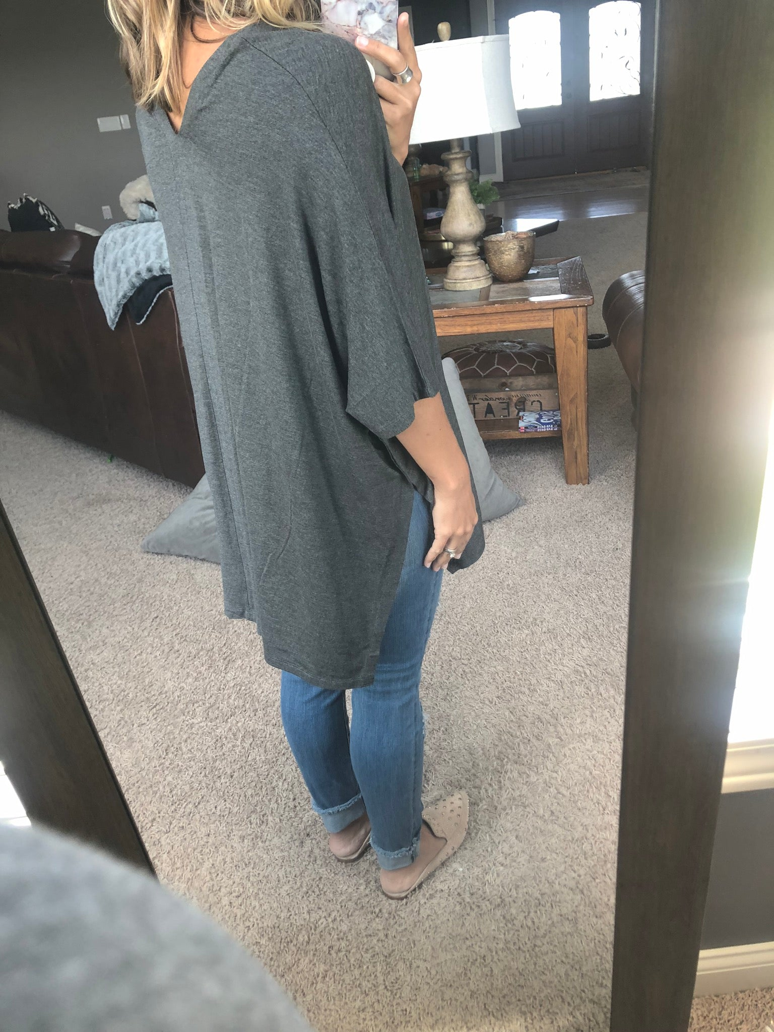More For You V Neck Oversized Cape- Charcoal